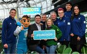 4 March 2020; FAI Interim Deputy CEO Niall Quinn joined ex Republic of Ireland Women's international Olivia O'Toole as well as representatives from the UEFA EURO 2020 volunteers and mascot Skillzy to mark the '100 Days To Go' milestone in Dublin today. Over 1,400 volunteers have already signed up and UEFA EURO 2020 are calling on the general public to be a part of the EURO 2020 City Volunteer Team here: https://euro2020.fai.ie/2020/02/27/be-part-of-euro-2020-city-volunteer-team/. In attendance at the launch are FAI Interim Deputy CEO Niall Quinn, centre, ex Republic of Ireland Women's international Olivia O'Toole, and official UEFA EURO 2020 mascot Skillzy, pictured alongside UEFA EURO 2020 Volunteers, from left, Vito Moloney Burke, Stephen O'Halloran, Alan O'Halloran, Kasia Salek, Yash Nabar and Cynthia Rivera. Photo by Seb Daly/Sportsfile