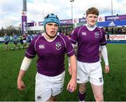 2 March 2020; Calum Dowling, left, and Peter Maher of Clongowes Wood College following the Bank of Ireland Leinster Schools Senior Cup Semi-Final between Clongowes Wood College and St Vincent's, Castleknock College, at Energia Park in Donnybrook, Dublin. Photo by Ramsey Cardy/Sportsfile