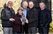 3 March 2020; Conor Dwan from Waterford United and South Kilkenny Down Syndrome Ireland, second from left, with, from left, former Kilkenny hurler Eddie Keher, former Dublin footballer Barney Rock, former Kilkenny hurler Tommy Walsh and Dublin selector Greg Kennedy at the launch of the 21st annual KN Group All-Ireland GAA Golf Challenge, Waterford Castle Hotel and Golf Resort. This year's Challenge, in aid of Waterford and South Kilkenny Down Syndrome Ireland, returns to Waterford Castle Golf Resort on September 11 and 12. Photo by Matt Browne/Sportsfile