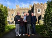 3 March 2020; Conor Dwan from Waterford and South Kilkenny Down Syndrome Ireland, second from left, with, from left, former Kilkenny hurler Eddie Keher, former Dublin footballer Barney Rock, former Kilkenny hurler Tommy Walsh and Dublin selector Greg Kennedy at the launch of the 21st annual KN Group All-Ireland GAA Golf Challenge, Waterford Castle Hotel and Golf Resort. This year's Challenge, in aid of Waterford and South Kilkenny Down Syndrome Ireland, returns to Waterford Castle Golf Resort on September 11 and 12. Photo by Matt Browne/Sportsfile