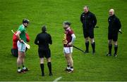 1 March 2020; Referee Shane Hynes performs the pre-match coin toss with Limerick captain Declan Hannon and Westmeath captain Cormac Boyle prior to the Allianz Hurling League Division 1 Group A Round 5 match between Limerick and Westmeath at LIT Gaelic Grounds in Limerick. Photo by Diarmuid Greene/Sportsfile