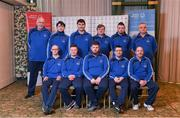 3 March 2020; Special Olympics Team Leinster set their sights on Northern Ireland. Pictured are the men's first team Darragh Murphy, Josh Healy, Craig Clarke, Francis Power, Karl McMahon, Cooper Collins, Jamie Reilly, Maciej Ledzki, head coach Peter Merrins with chaperones Noel Dinney and Chris Butler at the launch at the Keadeen Hotel in Newbridge, Kildare. Photo by Harry Murphy/Sportsfile