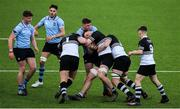 3 March 2020; Donough Lawlor of Newbridge College, supported by team-mates Peter Leavy, left, and Diarmuid Mangan, right, is tackled by Jack Boyle of St Michael's College during the Bank of Ireland Leinster Schools Senior Cup Semi-Final match between St Michael's College and Newbridge College at Energia Park in Donnybrook, Dublin. Photo by Ramsey Cardy/Sportsfile