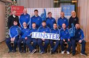 3 March 2020; Special Olympics Team Leinster set their sights on Northern Ireland. Pictured are former GAA commentator Mícheál Ó Muircheartaigh and Republic of Ireland international Stephanie Roche with the men's first team Darragh Murphy, Josh Healy, Craig Clarke, Francis Power, Karl McMahon, Cooper Collins, Jamie Reilly, Maciej Ledzki, head coach Peter Merrins and chaperones Noel Dinney and Chris Butler at the launch at the Keadeen Hotel in Newbridge, Kildare. Photo by Harry Murphy/Sportsfile