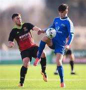 3 March 2020; James McGrath of IT Sligo and Jason Murphy of IT Carlow during the Rustlers CFAI Cup Final match between IT Sligo and IT Carlow at Athlone Town Stadium in Athlone, Co Westmeath. Photo by Stephen McCarthy/Sportsfile