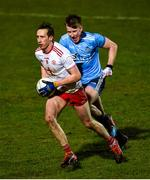 29 February 2020; Colm Cavanagh of Tyrone in action against Seán Bugler of Dublin during the Allianz Football League Division 1 Round 5 match between Tyrone and Dublin at Healy Park in Omagh, Tyrone. Photo by Oliver McVeigh/Sportsfile