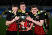 3 March 2020; IT Carlow players, from left, Lee Kavanagh, Conor Walsh and Kevin McEvoy celebrate following the Rustlers CFAI Cup Final match between IT Sligo and IT Carlow at Athlone Town Stadium in Athlone, Co Westmeath. Photo by Stephen McCarthy/Sportsfile