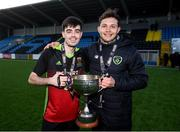 3 March 2020; IT Carlow's Calvin Nolan and assistant coach Joe Adibekov following the Rustlers CFAI Cup Final match between IT Sligo and IT Carlow at Athlone Town Stadium in Athlone, Co Westmeath. Photo by Stephen McCarthy/Sportsfile