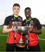 3 March 2020; Conor Walsh, left, and Kevin Williams of IT Carlow following the Rustlers CFAI Cup Final match between IT Sligo and IT Carlow at Athlone Town Stadium in Athlone, Co Westmeath. Photo by Stephen McCarthy/Sportsfile