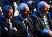 3 March 2020; Republic of Ireland manager Mick McCarthy, centre, with FAI Interim Chief Executive Gary Owens, left, and FAI President Gerry McAnaney during the 2020/21 UEFA Nations League Draw at Beurs van Berlage Conference Centre in Amsterdam, Netherlands. Photo by UEFA via Sportsfile
