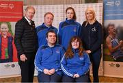 3 March 2020; Special Olympics Team Leinster set their sights on Northern Ireland. Pictured are former GAA commentator Mícheál Ó Muircheartaigh and Republic of Ireland international Stephanie Roche with the Laois athletes, Alanna Browne, Edward Coughlan, Niamh McEvoy and Thomás White at the launch at the Keadeen Hotel in Newbridge, Kildare. Photo by Harry Murphy/Sportsfile
