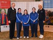3 March 2020; Special Olympics Team Leinster set their sights on Northern Ireland. Pictured are former GAA commentator Mícheál Ó Muircheartaigh and Republic of Ireland international Stephanie Roche with the Royals Rovers Special Olympics Club athletes, Orla Houlihan, Regina Rattigan and Michelle Murphy at the launch at the Keadeen Hotel in Newbridge, Kildare. Photo by Harry Murphy/Sportsfile