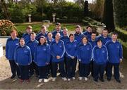 3 March 2020; Special Olympics Team Leinster set their sights on Northern Ireland. Pictured are athletes from Meath, Liam Brady, John Butler, Cooper  Collins, Michelle Dunne, Daragh Hastings, Maciej Ledzki, Karl McMahon, Emma Murray, Bridget Power, Joanne Power, Francis Power, Jamie Reilly, Stuart Walsh, Orla Houliha, Michelle Murphy, Regina Rattigan and chaperones Chris Butler and David Reilly at the launch at the Keadeen Hotel in Newbridge, Kildare. Photo by Harry Murphy/Sportsfile