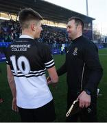 3 March 2020; Newbridge College head coach Johne Murphy and Sam Prendergast of Newbridge College following the Bank of Ireland Leinster Schools Senior Cup Semi-Final match between St Michael's College and Newbridge College at Energia Park in Donnybrook, Dublin. Photo by Ramsey Cardy/Sportsfile