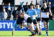 3 March 2020; Eddie Kelly of St Michael's College is tackled by Patrick O'Flaherty of Newbridge College, for which he was subsequently shown a yellow card, during the Bank of Ireland Leinster Schools Senior Cup Semi-Final match between St Michael's College and Newbridge College at Energia Park in Donnybrook, Dublin. Photo by Ramsey Cardy/Sportsfile