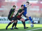 3 March 2020; Naythan Coleman and Conor Walsh, left, of IT Carlow in action against Gary Higgins of IT Sligo during the Rustlers CFAI Cup Final match between IT Sligo and IT Carlow at Athlone Town Stadium in Athlone, Co Westmeath. Photo by Stephen McCarthy/Sportsfile
