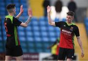 3 March 2020; Danny Doyle, right, celebrates with his IT Carlow team-mate Dean Kelly, who scored their fourth goal, during the Rustlers CFAI Cup Final match between IT Sligo and IT Carlow at Athlone Town Stadium in Athlone, Co Westmeath. Photo by Stephen McCarthy/Sportsfile