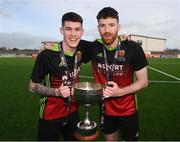 3 March 2020; Dean Kelly, left, and Sean Hurley of IT Carlow celebrate following the Rustlers CFAI Cup Final match between IT Sligo and IT Carlow at Athlone Town Stadium in Athlone, Co Westmeath. Photo by Stephen McCarthy/Sportsfile