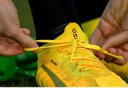 4 March 2020; A detailed view of Katie McCabe tying her boots prior to a Republic of Ireland Women training session at Johnstown Estate in Enfield, Co Meath. Photo by Eóin Noonan/Sportsfile