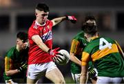 4 March 2020; Blake Murphy of Cork prepares to shoot under pressure from Kerry players, from left, Owen Fitzgerald, Seán O'Brien, and Dan McCarthy during the EirGrid Munster GAA Football U20 Championship Final match between Kerry and Cork at Austin Stack Park in Tralee, Kerry. Photo by Piaras Ó Mídheach/Sportsfile