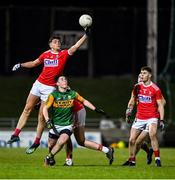 4 March 2020; Brian Hayes of Cork gets to the ball ahead of Michael O'Gara of Kerry during the EirGrid Munster GAA Football U20 Championship Final match between Kerry and Cork at Austin Stack Park in Tralee, Kerry. Photo by Piaras Ó Mídheach/Sportsfile