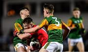 4 March 2020; Fionn Herlihy of Cork in action against James McCarthy, right, and Owen Fitzgerald of Kerry during the EirGrid Munster GAA Football U20 Championship Final match between Kerry and Cork at Austin Stack Park in Tralee, Kerry. Photo by Piaras Ó Mídheach/Sportsfile