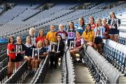 5 March 2020; In attendance at the 2020 Gourmet Food Parlour O'Connor Cup Captain's Day is Ciara Rowe, Brand Marketing Manager, with, from left, Ciara Brennan, UCC, Mary Martin, DCU, Lauren McGregor, UL, Kellie Kearney, Garda College, Ailish Noonan, DKIT, Aoife O'Shaughnessy, UCD, Emma Spillane, UCC, Hannah Hegarty, DCU, Shauna Howley, UL, Lucy McCartan, UCD,  Niamh Gallogly, NUIG, Sarah Boyd, MU, Lucy Power, DCU, Orla Burke, CIT, Niamh Rowan, UCD, Laura Tierney, TCD, and Tara Fitzgibbon, TUD Tallaght, at Croke Park in Dublin. Photo by Matt Browne/Sportsfile