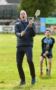 5 March 2020; Prince William, Duke of Cambridge reacts after making an attempt to hit a sliothar with a hurley during an engagement at Salthill Knocknacarra GAA Club in Galway during day three of his visit to Ireland. Photo by Sam Barnes/Sportsfile