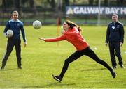 5 March 2020; Catherine, Duchess of Cambridge makes an attempt at Gaelic football during an engagement at Salthill Knocknacarra GAA Club in Galway during day three of her visit to Ireland. Photo by Sam Barnes/Sportsfile