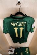 5 March 2020; The jersey of Katie McCabe hangs in the Republic of Ireland changing room prior to the UEFA Women's 2021 European Championships Qualifier match between Republic of Ireland and Greece at Tallaght Stadium in Dublin. Photo by Stephen McCarthy/Sportsfile