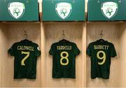 5 March 2020; The jerseys of Diane Caldwell, Niamh Farrelly and Amber Barrett hang in the Republic of Ireland changing room prior to the UEFA Women's 2021 European Championships Qualifier match between Republic of Ireland and Greece at Tallaght Stadium in Dublin. Photo by Stephen McCarthy/Sportsfile