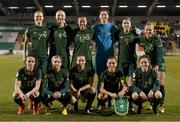 5 March 2020; The Republic of Ireland team, back row, from left to right, Diane Caldwell, Louise Quinn, Rianna Jarrett, Marie Hourihan, Niamh Fahey and Ruesha Littlejohn. Front row, from left to right, Aine O'Gorman, Denise O'Sullivan, Harriet Scott, Katie McCabe and Heather Payne prior to the UEFA Women's 2021 European Championships Qualifier match between Republic of Ireland and Greece at Tallaght Stadium in Dublin. Photo by Stephen McCarthy/Sportsfile