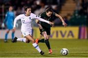 5 March 2020; Aine O'Gorman of Republic of Ireland in action against Athanasia Moraitou of Greece during the UEFA Women's 2021 European Championships Qualifier match between Republic of Ireland and Greece at Tallaght Stadium in Dublin. Photo by Stephen McCarthy/Sportsfile