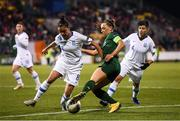 5 March 2020; Katie McCabe of Republic of Ireland in action against Danai-Eleni Sidira and Anastasia Gkatsou of Greece during the UEFA Women's 2021 European Championships Qualifier match between Republic of Ireland and Greece at Tallaght Stadium in Dublin. Photo by Stephen McCarthy/Sportsfile
