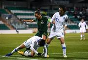 5 March 2020; Anastasia Gkatsou, left, and Natalia Chatzigiannidou of Greece in action against Katie McCabe of Republic of Ireland during the UEFA Women's 2021 European Championships Qualifier match between Republic of Ireland and Greece at Tallaght Stadium in Dublin. Photo by Stephen McCarthy/Sportsfile