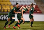 5 March 2020; Diane Caldwell, right, of Republic of Ireland celebrates with team-mate Rianna Jarrett after scoring her side's first goal during the UEFA Women's 2021 European Championships Qualifier match between Republic of Ireland and Greece at Tallaght Stadium in Dublin. Photo by Stephen McCarthy/Sportsfile