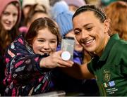 5 March 2020; Katie McCabe of Republic of Ireland takes a selfie with a supporter following the UEFA Women's 2021 European Championships Qualifier match between Republic of Ireland and Greece at Tallaght Stadium in Dublin. Photo by Seb Daly/Sportsfile
