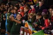 5 March 2020; Harriet Scott of Republic of Ireland celebrates with fans following the UEFA Women's 2021 European Championships Qualifier match between Republic of Ireland and Greece at Tallaght Stadium in Dublin. Photo by Stephen McCarthy/Sportsfile