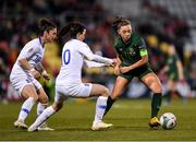 5 March 2020; Katie McCabe of Republic of Ireland in action against Eleni Markou, left, and Natalia Chatzinikolaou of Greece during the UEFA Women's 2021 European Championships Qualifier match between Republic of Ireland and Greece at Tallaght Stadium in Dublin. Photo by Seb Daly/Sportsfile