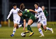 5 March 2020; Katie McCabe of Republic of Ireland in action against Anastasia Gkatsou, left, and Natalia Chatzinikolaou of Greece during the UEFA Women's 2021 European Championships Qualifier match between Republic of Ireland and Greece at Tallaght Stadium in Dublin. Photo by Seb Daly/Sportsfile