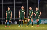 5 March 2020; Republic of Ireland players, from left, Diane Caldwell, Louise Quinn, Katie McCabe and Áine O'Gorman during the UEFA Women's 2021 European Championships Qualifier match between Republic of Ireland and Greece at Tallaght Stadium in Dublin. Photo by Seb Daly/Sportsfile