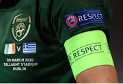 5 March 2020; A detailed view of the Republic of Ireland crest and the match description on the jersey of Republic of Ireland captain Katie McCabe during the UEFA Women's 2021 European Championships Qualifier match between Republic of Ireland and Greece at Tallaght Stadium in Dublin. Photo by Stephen McCarthy/Sportsfile