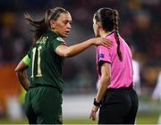 5 March 2020; Katie McCabe of Republic of Ireland with referee María Dolores Martinez Madrona during the UEFA Women's 2021 European Championships Qualifier match between Republic of Ireland and Greece at Tallaght Stadium in Dublin. Photo by Stephen McCarthy/Sportsfile