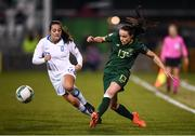 5 March 2020; Áine O'Gorman of Republic of Ireland and Athanasia Moraitou of Greece during the UEFA Women's 2021 European Championships Qualifier match between Republic of Ireland and Greece at Tallaght Stadium in Dublin. Photo by Stephen McCarthy/Sportsfile