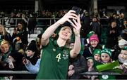 5 March 2020; Louise Quinn of Republic of Ireland with supporters following the UEFA Women's 2021 European Championships Qualifier match between Republic of Ireland and Greece at Tallaght Stadium in Dublin. Photo by Stephen McCarthy/Sportsfile