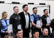 6 March 2020; FAI Interim Deputy Chief Executive Niall Quinn poses with members of An Garda Síochána, Coolock, following a FAI Futsal Introductory Course certificate presentation, at Darndale Belcamp Recreation Centre in Dublin. Photo by Stephen McCarthy/Sportsfile