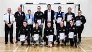 6 March 2020; FAI Interim Deputy Chief Executive Niall Quinn, Jimmy Mowlds, FAI Development Officer, and Gerard Donnelly, An Garda Síochána Superintendent, Coolock, pose with members of An Garda Síochána, Coolock, following a FAI Futsal Introductory Course certificate presentation, at Darndale Belcamp Recreation Centre in Dublin. Photo by Stephen McCarthy/Sportsfile