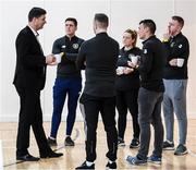 6 March 2020; FAI Interim Deputy Chief Executive Niall Quinn speaking with members of An Garda Síochána, Coolock Station, who are responsible for running the FAI's Late Night Leagues at Darndale, prior to a FAI Futsal Introductory Course certificate presentation, at Darndale Belcamp Recreation Centre in Dublin. Photo by Stephen McCarthy/Sportsfile