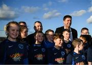 6 March 2020; FAI Interim Deputy Chief Executive Niall Quinn and Lord Mayor of Dublin Tom Brabazon, left, pose for a photograph with Darndale FC players after preforming the official opening of the new Darndale FC all-weather pitch at Darndale Park in Dublin. Photo by Stephen McCarthy/Sportsfile