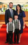 6 March 2020; Conor Laverty of Kilcoo with his wife, Roisin and children Setanta, left, and Conlaoch arrive prior to the AIB GAA Club Players' Awards at Croke Park in Dublin. Photo by Ramsey Cardy/Sportsfile